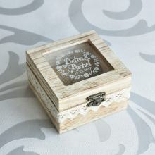 Rustic Wedding Ring Box Ring Bearer with Lace, Personalized Rustic Wedding Gift Wedding Ring Pillow Box(China)