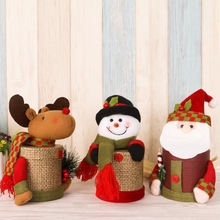 Boxes Merry Christmas Santa Claus Elk Deer Snowman Plush Doll Gift Bag Box Candy Holders Storage Home Decoration Ornaments