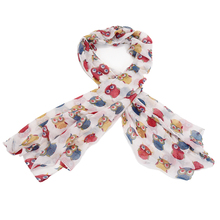 Hot Fashion Cute Colorful Cartoon Owl Print Scarf For Women(China)