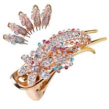 1PC Fashion Rhinestone Hair Clip Women Sunflower Alloy Hairpins Claw Gum Headwear Wedding Bridal Flower Hair Accessories