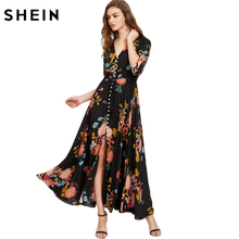SHEIN Boho Style Long Dress Deep V Neck Three Quarter Length Sleeve Smocked Waist Tassel Tie Button Up Botanical Dress