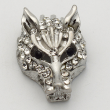 10pcs/lot Silver Wolf Head Bead For Braid Hand mand Woven leather Necklace Accessories(China)