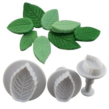 Free Shipping 3pcs/set Rose Leaf Plunger Cutter Mold Fondant Cake Decorating Biscuits And Cake Mold A192
