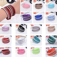 New Fashion Leather Wrap Wristband Cuff Punk Crystal Rhinestone Bracelet Bangle KQS