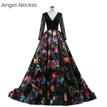 Angel Novias Long Sleeve Black Ball Gown Evening Dress 2018 Floral Print Back Formal Evening Gowns Robe Soiree Longue Femme 2017(China)