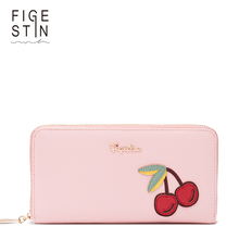 FIGESTIN Women's Long Wallet Fashion Pink/White Zipper High Quality Cute Cherry Pattern Purses for Girls Clutch Wallet Original