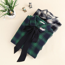 2 colors -- Bow sash tie plaid autumn winter long sleeve peter pan collar cat kitty embroidery long shirt blouse