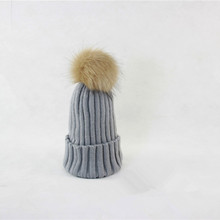 Hot Sale Fashion Children Autumn Winter Raccoon Fur Hats Big Fur Ball pompom Beanies Cap Knitted Fur Hat For Baby Kids & Mothers