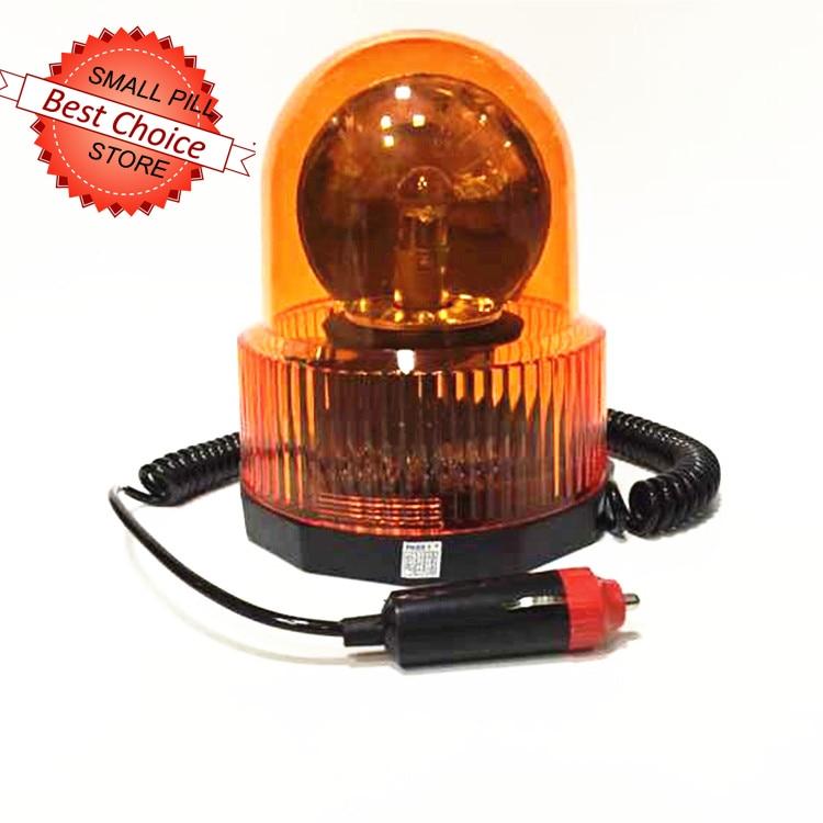 24V Amber Orange Flashing Warning Revolving Magnetic Flash Beacon Light Lamp