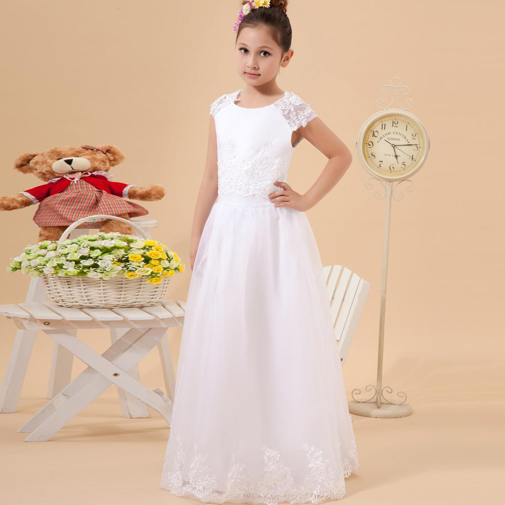 Vintage Flower Girl Homcoming Vestidos Tulle Lace Overlay Cap Sleeve Embroidered Satin Straight Pageant Dresses Christmas 2017<br><br>Aliexpress