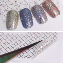 12 Patterns Big Sheet Holo 3D Nail Sticker Gold Silver Laser Aurora Line Adhesive Hologram Sticker Holographic Nail Tips