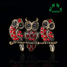 3 Pieces 52x34mm Vintage Tree Branch Red Night Owl Bird Rhinestone Crystal Vintage Bronze Tone Pin Brooches