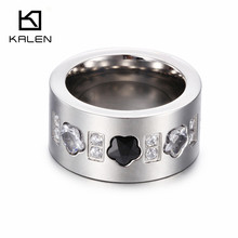 Top Quality Austrian Zircon Wedding Band For Women Fashion Ring 3 Crystal Flowers Stainless Steel Wholesale Silver Ring Supplier