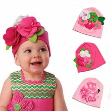Moeble 5M-2Y Kids Baby Girls Lovely Headwear Big 3D Flower Beanies Cap Hats Photo Dress Cotton Big Flower Decorated 1pc H266