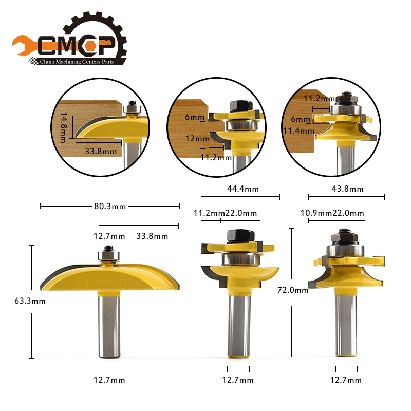 CMCP 3pcs  1/2 Shank Ogee Raised Panel and Rail &amp; Stile Router Bits Set milling cutter for wood Woodruff Keyseat Milling Cutter<br>