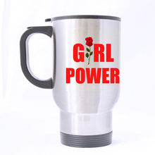 Luxury Smart rose girl Custom Star Design Silver Travel Mug Sports Bottle Coffee Mugs Office Home Cup 14 OZ Two Sides Printed(China)