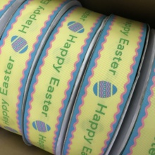 "Crazy Discount 1-1/2"" 38mm Happy Easter Printed Grosgrain Ribbon for DIY Hairbows Materials Baby/Children's Crafts 100 Yards"