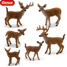 Oenux Classic Herbivore White-tailed Deer Animals Action Figures Remastered Odocoileus Virginianus Animal Model Toy For Kid Gift(China)