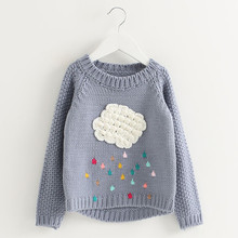 2016 new winter cartoon baby girls sweater cloud raindrops kids clothes children sweater warm long sleeve for girls knitwear