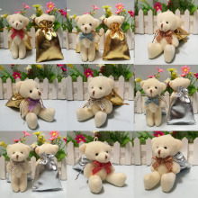 12pcs/lot 12CM  mini plush teddy bear with candy bag small joint teddy bear wedding gift baby born party supply