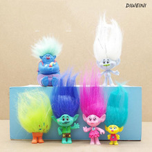 6 Pcs/Set Hot Sale Cute Trolls Action Figure Play Set Movie Cartoon Magic Long Hair Dolls Toys