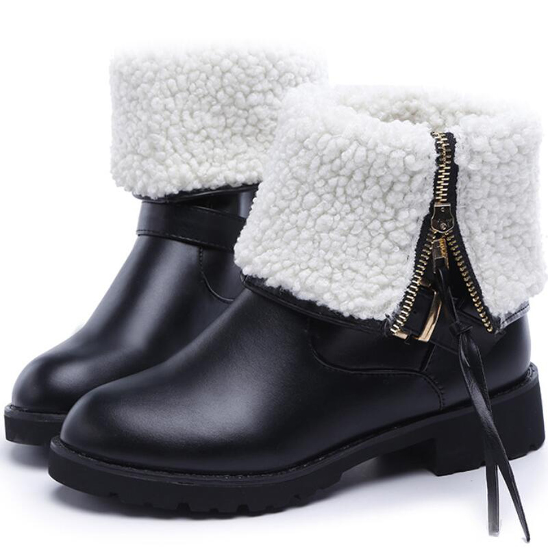 2017 new design women boots fashion tassel metal buckle botas casual zip  mid calf winter shoes woman thick fluff snow boots<br><br>Aliexpress