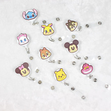 New Arrival High Quality Cute Cartoon Cat Dog Bear Retractable Reel For Bus Credit Card Holder for kids PY080(China)