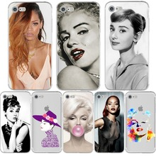 Sexy Super Star Phone Cases Rihanna Monroe Audrey Hepburn Fundas Coque Cover for iphone 6 6s 6splus 5 5s se 7 7plus Silicon tpu