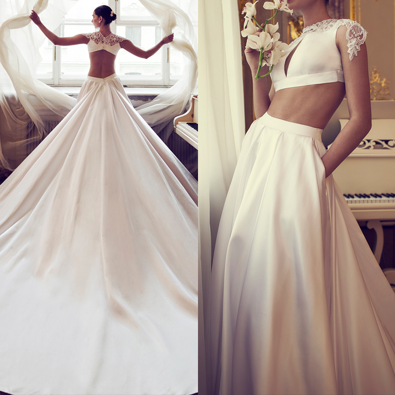 luxury Sexy Two Piece Wedding Dress 2019 Beaded Lace Satin Chapel Train 2 Piece A-Line Wedding Dresses Champagne Wedding gown