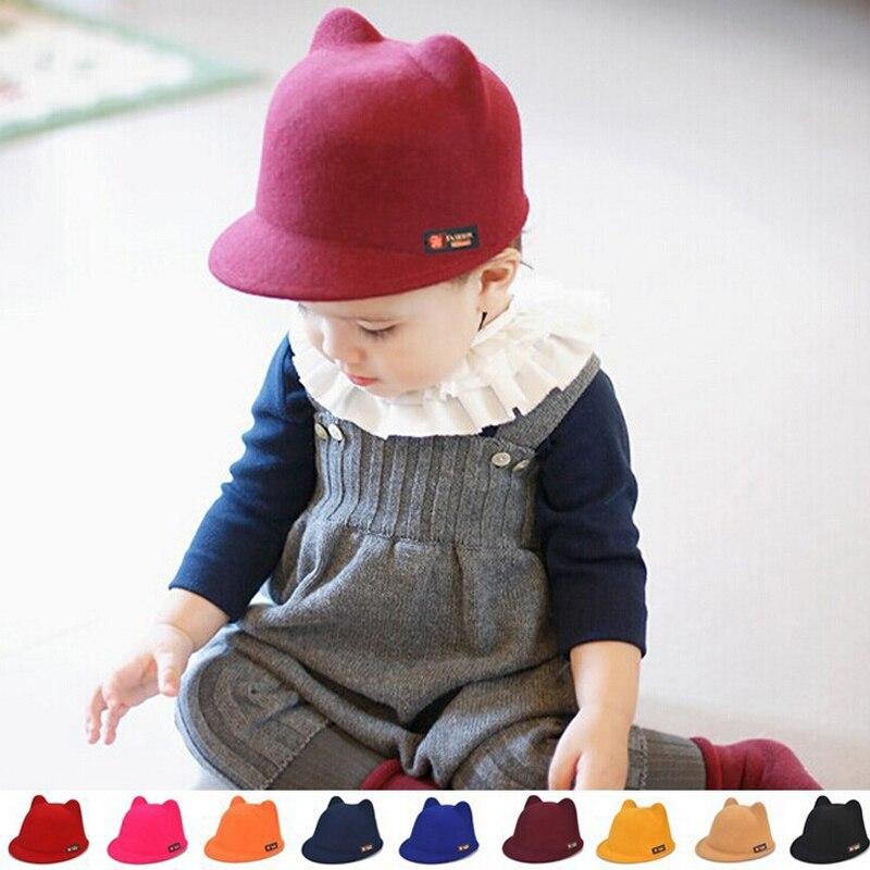 Fashion Baby Cat Ear Hat Wool Winter Soft Fedora Cap Cute Toddler Adjustable Hats Birthday Gift For Child GirlsÎäåæäà è àêñåññóàðû<br><br><br>Aliexpress