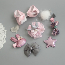 10pcs/1 set Mix Style Hair Bows with Full Covered Clips Hair Clips mini Hair Pins Crown Wispy Clippy Random Style M446(China)
