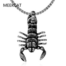 MEEKCAT Biker Men's Black Military big Scorpion Pendant Necklace 24 Inch cube Chain 316L Stainless Steel necklace