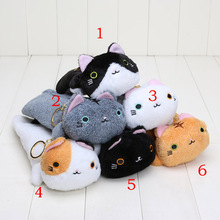 6styles big face cat plush toys soft stuffed Pencil Box Kutusita Nyanko plush pencil bags