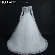 Buy QQ Lover 2017 New Boat Neck Long Sleeve Lace Back Vestido De Noiva Custom-made Plus Size Wedding Dress Wedding Gowns for $96.75 in AliExpress store