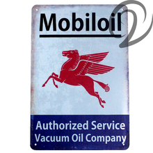 Mobiloil Authorized Service Vacuum Oil Company Shabby Chic Metal Plaques Tin Sign Bar Pub Garage Signs Vintage Home Decor