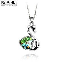 BeBella cute swan pendant necklace animal jewelry Made with Crystals from Swarovski for women's gift