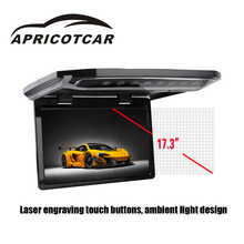APRICOTCAR 17.3 Inch Car Ceiling Monitor Car Multimedia Player Bus HDTV Support 1080P Full Format Playback with MP5 LED Function(China)