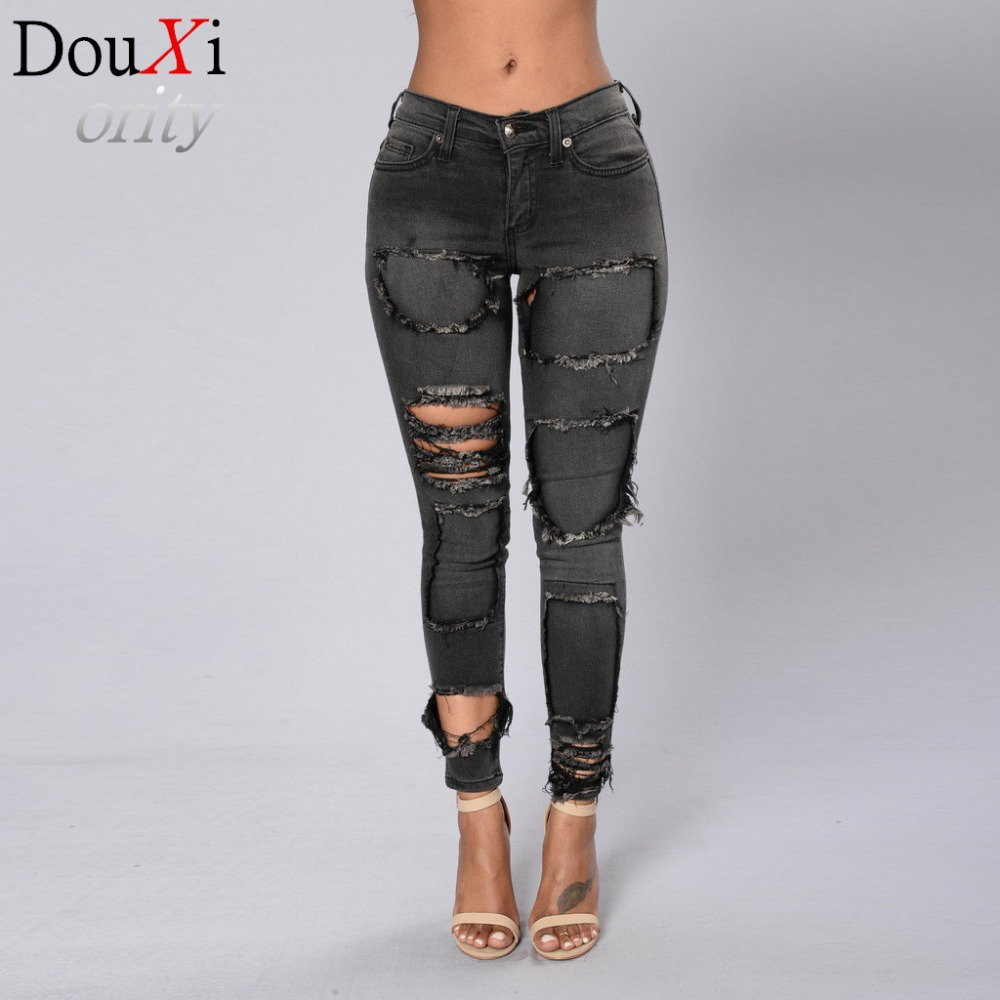 Fashion spring European and American style women jeans  gray  Pencil Pants Skinny Mid Waist Button Fly Ripped women jeans Одежда и ак�е��уары<br><br><br>Aliexpress