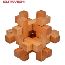 Surwish Intelligence KongMing Luban Locks Old China Ancestral Locks Traditional 3d Wooden Brain Teaser Puzzle Educational Toys(China)