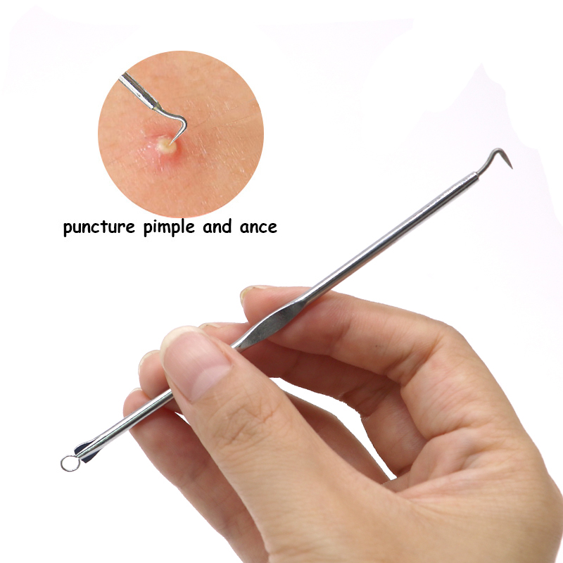 5Pcs Face Skin Care Stainless Steel Needle Comedone Blackhead Remover Black Head Blemish Acne Pimple Extractor Remover Kit Tool 12