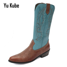 Yu Kube Women Western Cowboy Boots Blue Autumn Winter Leather Low Heel Knee High Boots Embroider Woman Med Heels Wedding Shoes