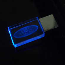 Pen drive Crystal Transparent LED Flash Ford Car Logo 8GB 16GB 32GB USB Flash 2.0 Memory Drive Stick LED Light Free LOGO Over 20