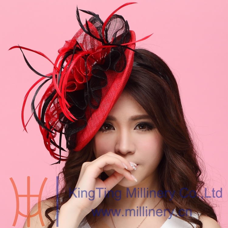 Free Shipping New Women Hair Fascinator Hats Hair Accessory Hair wedding accessories Hairdress Flowers Hair Bows With Hairbands<br>