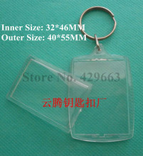 Free shipping 3pcs/lot Rectangular Arc Transparent Blank Insert Photo Picture Frame Key Ring Split keychain