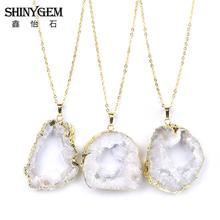 Natural Jewelry Necklace Bijoux Femme White Crystal Agates, Healing Stone Irregular Geode Slice Pendant Necklaces 40-60mm