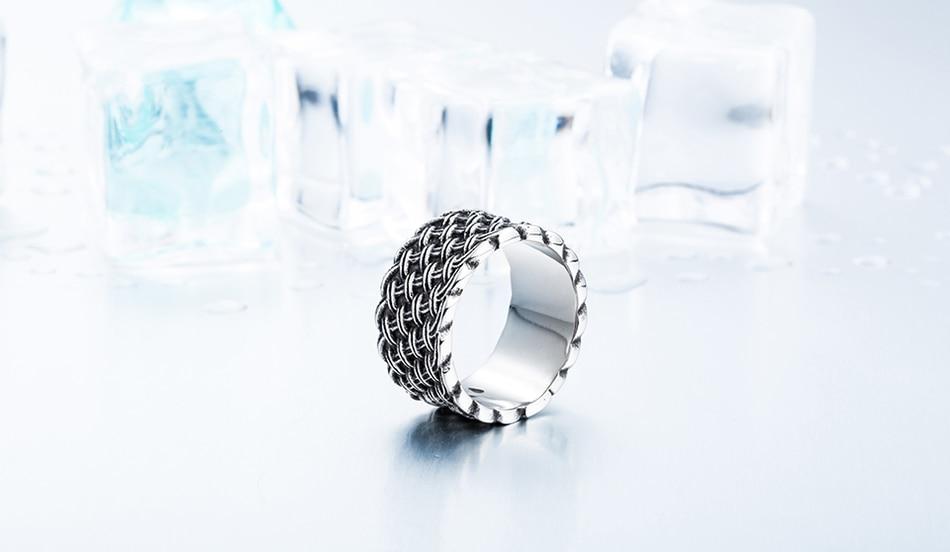 แหวนโคตรเท่ห์ Code 037 แหวนแนวโกธิคลายถักไวกิ้ง เท่ห์ดุแบบเรียบๆ สแตนเลส9