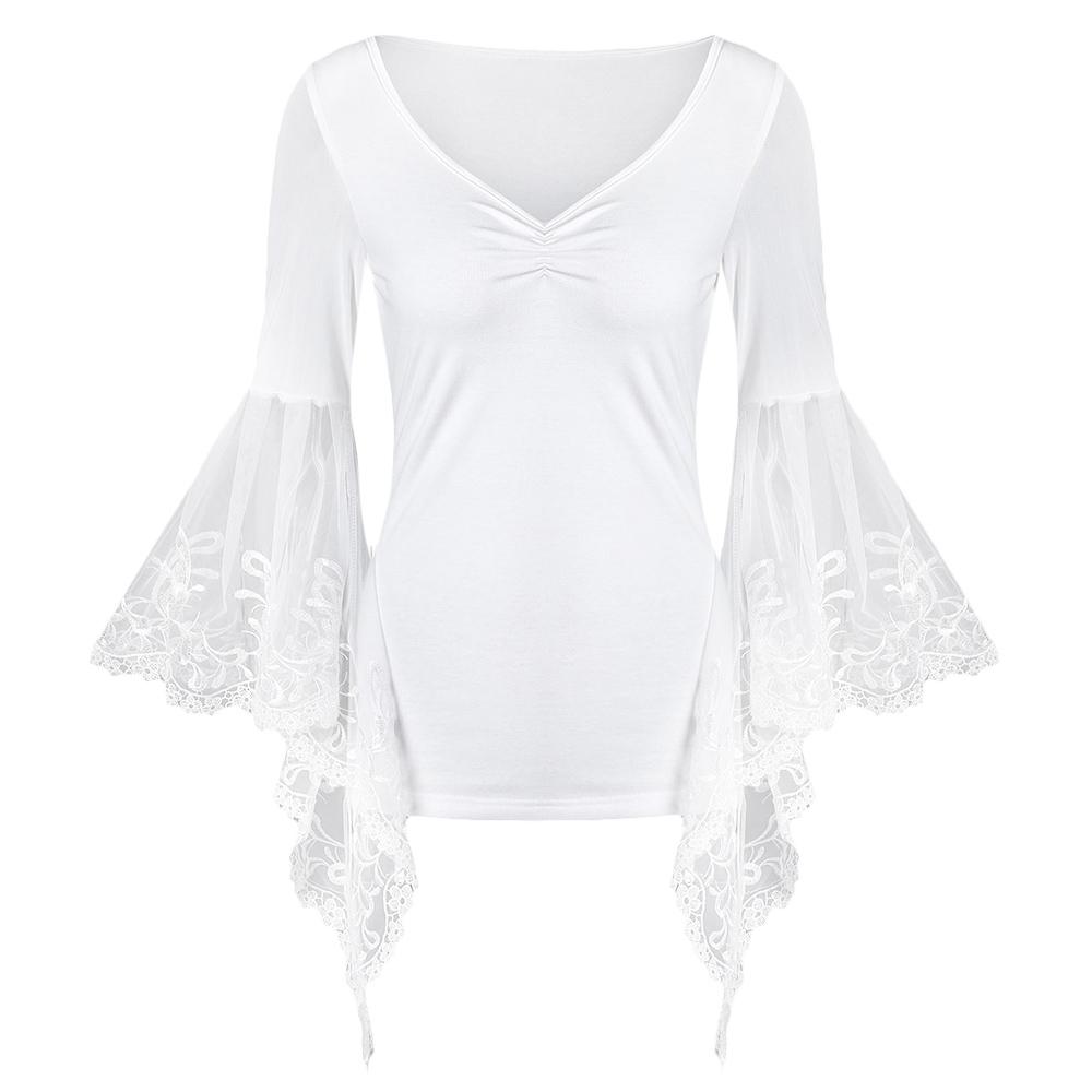 VESTLINDA Lace Flare Sleeve Sheer Panel Blusa Top Women Blouse Shirt Blusas Mujer 2017 Plus Size Women Clothing Summer Blouses 16