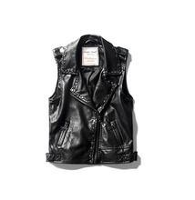 Модная детская одежда кожаный жилет куртка Обувь для девочек из искусственной кожи куртка без рукавов Детская верхняя одежда для мотоцикли...(China)