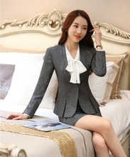 Formal Women Bsuienss Suits with Skirt and Jacket Sets Grey Blazer Ladies Work Wear Suits Office Uniform Designs OL Style