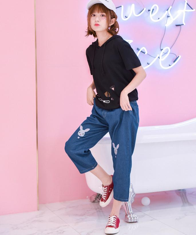 Light Blue Deep Blue Kawaii Bunny Embroidery Jeans Pants Women Summer Casual Straight Pants With Pockets Fashion Ninth Pants7
